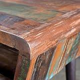 SHENGFENG Schreibtisch Massivholz Teak Antik Bürotisch Arbeitstisch mit Eisenfüßen 110 x 50 x 80 cm