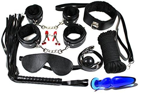 Bondage Set 10 teilig in schwarz mit blauem Glas Plug