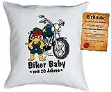 zum 21. Geburtstag Geschenk Bezug Kissenbezug Biker Baby seit 20 Jahren Polster zum 21. Geburtstag für 21-jährige Dekokissen mit Urkunde