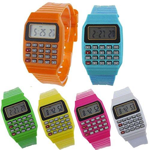 Altsommer Rechner Muster Digital Uhr für Damen Kinder,Silikoarmband mit Berechnungsfunktion,Multifunktional Uhren,Quartz Analog Uhren,Casual Sport Uhr für Geschäftsmann,Studenten (B)