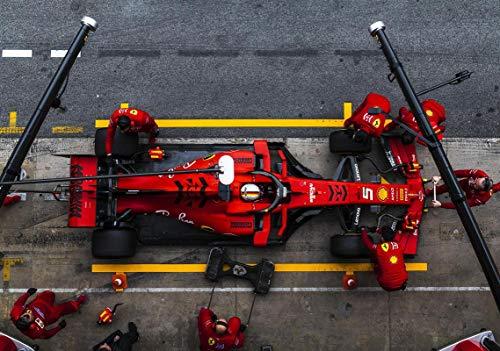 Generic Poster 11542 (A3-A4-A5) mit Sebastianischer Vettel F1 Formel 1 Ferrari SF90 Test Pit Stop Catalunya Circuit Barcelona 2019, A3