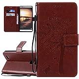 ISAKEN Compatibile con Huawei Mate 7 Custodia, Libro Flip Cover Portafoglio Wallet Case Albero Design in Pelle PU Protezione Caso con Supporto di Stand/Carte Slot/Chiusura - Coffee