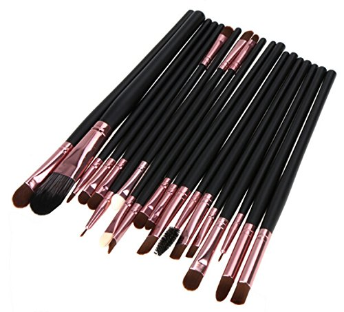 LyDia� UK STOCK 20pcs Rose-Gold/Black Foundation/Contour/Concealer/Eyebrow/Eyeshadow/Mascara/Blending Makeup Brush Set