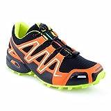 Herren Damen Sneaker Sportschuhe Lauf Freizeit Neon Runners Fitness Low Unisex Schuhe Schwarz/Orange/Gelb-M EU 44