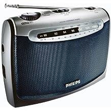 Philips AE2160 Radio Portable avec Prise Casque, Alimentation Piles (2xLR20) ou Secteur, Son clair, Bleu et Gris