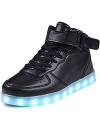 SAGUARO® Leuchtende Kinderschuhe 7 Farben LED Schuhe USB Aufladen Leuchtschuhe Mädchen Jungen Blinkschuhe Licht Sportschuhe Turnschuhe Sneaker