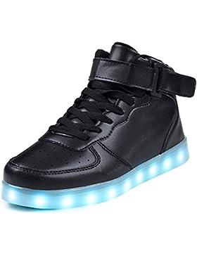 SAGUARO 7 Farben LED Schuhe USB Aufladen Leuchtschuhe Licht Blinkschuhe Leuchtende Sport Sneaker Light Up Turnschuhe...