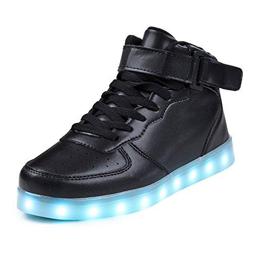 SAGUARO® Leuchtende Kinderschuhe 7 Farben LED Schuhe USB Aufladen Leuchtschuhe Mädchen Jungen Blinkschuhe Licht Sportschuhe Turnschuhe Sneaker, Schwarz 27