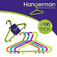 Hangerman Pack of 100 Plastic Coat Hangers for Kids Clothes - CHILDRENS CLOTHES COAT PLASTIC HANGERS HANG BABY CHILD CHILDREN KIDS HANGING STORAGE