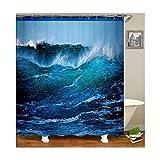 LOUMVE Polyester Duschvorhang Schimmel Textil 180x200 cm Antibakteriell Anti Schimmel Water Wasserdicht Badezimmer Duschvorhang Blau mit Duschvorhangringe