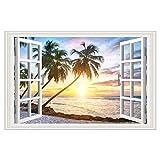 BYSP Adesivo murale finestra finta 3D, decalcomanie di paesaggio di albero di cocco tramonto creativo dell'isola, per murale carta da parati arredamento camera da letto soggiorno