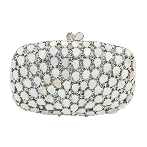 WENDYRAY Kristall Strass Abendtaschen Natürliche Shell Bridal Wedding Clutch Bag Party Shiny Women Hard Case Geldbörse - Natürliche 6 Shell-iphone