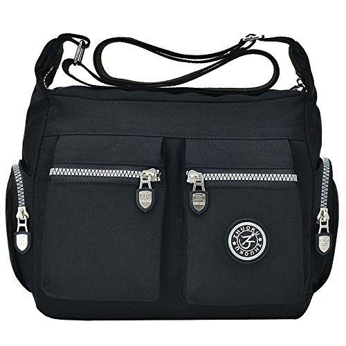 Tibes Bolsas de Hombro Impermeables Mujer Messenger Bag Bolso de cuerpo cruzado Nylon Bolso pequeño bolso de viaje Noir