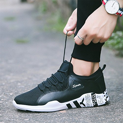 GEERBU Scarpe da Corsa da Uomo Respirabile Leisure Sport Ginnastica Scarpe Sneaker Lace-Up Nero bianco