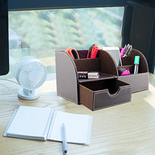 Btsky office multi functional pu leather desk organiser tidy btsky office multi functional pu leather desk organiser tidy business card reheart Image collections