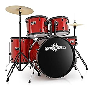 BDK-1 Full Size Starter Drum Kit by Gear4music Red