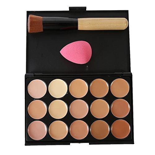 KAYI 15 Couleurs Maquillage Correcteur Formulaire Palette + Brosse de Maquillage + Goutte d'Eau Maquillage Eponge