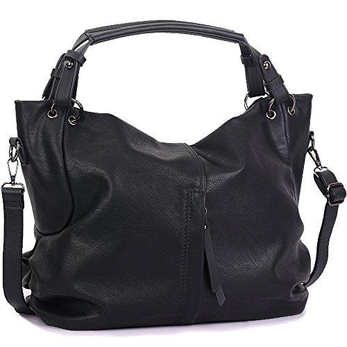 WISHESGEM Handtaschen Damen Taschen Hobo Umhängetaschen Schultertaschen Handtaschen PU-Leder Henkeltaschen Modernes 36cm(L)*16cm(W)*30cm(H) Schwarz -