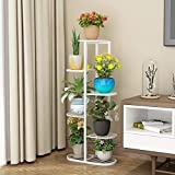 Crafter Metal High Low Flower Shelves Planter Rack, White, LxWxH- 17.5 x 8.6 x 37.7 Inch