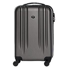 FERGÉ Trolley bagaglio a mano Marsiglia - Valigia rigida 55x35x22 cm valigetta bagaglio cabina 4 ruote grigio
