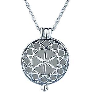 Yumilok Hohle Runde Münze Medaillon Nachtleuchtend Anhänger Halskette Legierung Amulett Kettenänhanger für Damen Kinder, Blaues Licht