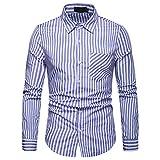 IZHH Herren Business Hemden, Hemdkragen Lange ÄRmel Streifen-Malerei Plus Size Venti Hemden Casual Top Bluse Shirts Langarmshirt Herren(Blau,M)