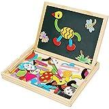 Irady Puzzles de Madera Juguete de Madera Magnético Dibujo Placa Rompecabezas Pizarra con Caja Para Niños Regalos Niños Infantil de 3 4 5 Años