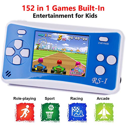 "QINGSHE RS-1 Handheld Game Console for Children,Retro Game Player with 2.5"" Color LCD Portable Video Games,The 80's Arcade Video Gaming System,Built-in 152 Classic Old School Games Entertainment-Blue"