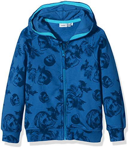 Name It Nitkuffe Sweat Card W Hood Nmt, Cappuccio Bambino, Multicolore (Mykonos Blue), 122