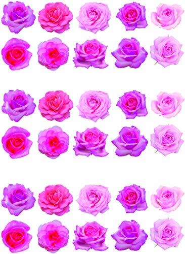 30 preciosas rosas rosas para decoración de tartas en papel comestible.