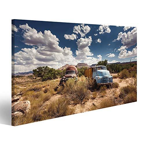 islandburner Bild Bilder auf Leinwand Alte rostige Autos in verlassener Stadt entlang historischem US-Weg 66, Arizona Wandbild, Poster, Leinwandbild NNL (Rostige Autos)