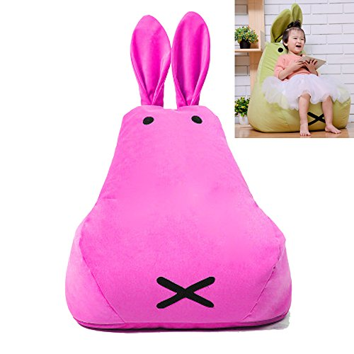 Kinder Sitzsack Wasserabweisend Floppy Ohren Bunny Kaninchen Sitzsack Mini Stuhl Kissen Sessel BeanBag mit Füllung Bodenkissen (Rosa, S)