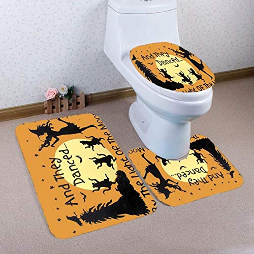 Weiche Badteppich Küchenteppich 3 stücke Halloween Stil Tanzen Wölfe Badematte + Wc-Matte + U-förmige Matte Set