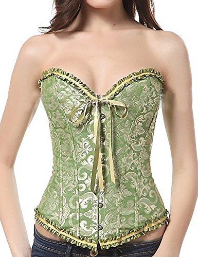 Beauty-You Women's Vintage Gothic Lace Up Boned Overbust Corset Top Bustier Green UK Size 14-16 4XL (Leicht Corset Boned)