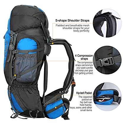 HWJIANFENG Backpack for Outdoor Sports Hiking Traveling Trekking Camping Waterproof Mountaineering Ultralarge Capacity Internal Frame Men Women 80L+5L 4