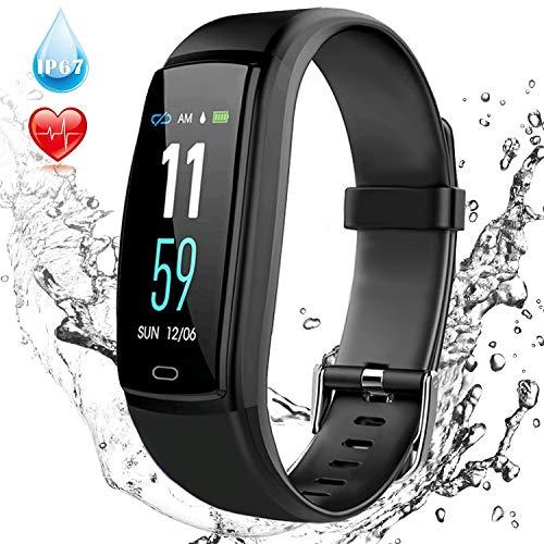 Comaie Fitness Armband, Fitness Tracker mit Pulsmesser Wasserdicht IP67 Activity Tracker Schlafanalyse Armband Fitness Armband Uhr mit Pulsmesser Schrittzähler Kalorienzähler für Android und iPhone
