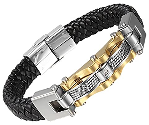 Men's Bracelet Stainless Steel Black Braided Leather Wire Chain Cuff Bangle 1.4*22.5cm by Aienid