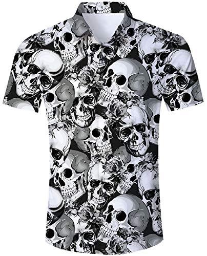Goodstoworld Camisa Halloween 3D Cráneo Camisa Hawaiana Hombre Original Funky Camisa Hawaiana Señores...
