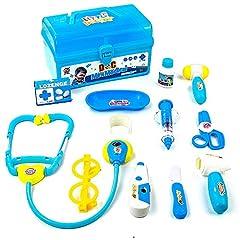 Idea Regalo - Valigetta Dottore Bambini Kit Infermiere Medico Gioco Giochi di Ruolo Giocattolo per Bambino Toddlers Blu 3 Anni 12 Pezzi