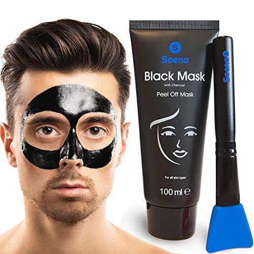 Das ORIGINAL - SOENA® for MEN Black Mask + MASKENPINSEL | XXL Tube 100 ml | Entfernt Mitesser - Peel-Off Maske - Gegen unreine Haut | Mit Aktivkohle | Schwarze Maske zum abziehen - Blackhead Maske