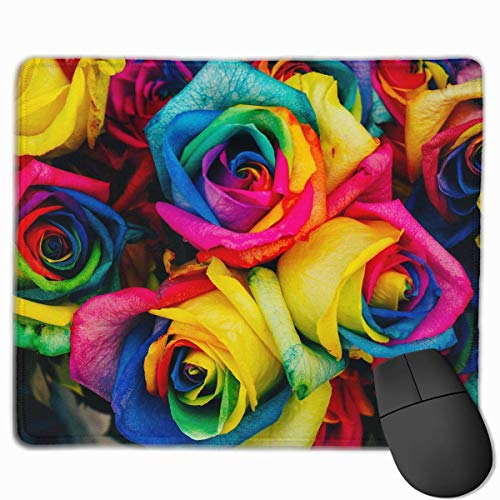Whecom Rainbow Petal Roses Non-Slip Personalized Designs Gaming Gaming Mauspad Black Cloth Rectangle Mousepad Art Natural Rubber Mouse Mat with Stitched Edges 9.8x11.8 Inch - 1110 Laser