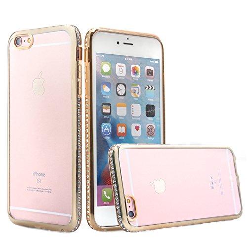 Apple iPhone 6/6S + PLUS (5.5 Zoll) | iCues Aurora Strass Chrom TPU Case Silber | Transparent Klarsichthülle Durchsichtig Klare Klarsicht Silikon Gel Strass Glitzer Glitter Luxus Bling Damen Frauen Mä Gold