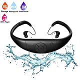 Tayogo Upgraded Waterproof Mp3 Player Headset Music Player, 8GB Memory, Earphone Swimming, Surfing, Running, Sports, Award-winning Design Comfort (black)