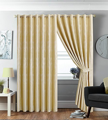 Luxury Jacquard Eyelet Fully Lined measure Curtains IMPERIAL ROOMS Pair of ( Betty Cream / 66×72 ) Ring Top ready made curtains online for Living Rooms Window blinds with Two Tie Backs