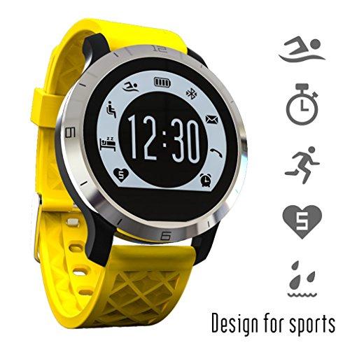 Unisex S300 Pulsera Inteligente Smartwatch Impermeable IP68 Bluetooth 4.0- Flypv Llamada Podómetro Pulsómetro Tracker Frecuencia Cardíaca (31g, 1.o', 38*38*10mm, 180mah) Monitor Ejercicio Físico Registro de Sueño Salud- Compartible para Sistema Android 4.3+ y IOS 8.0+