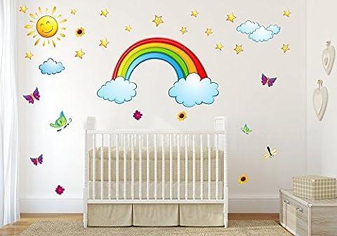 006 Wandtattoo Regenbogen Sonne Wolken Sterne Sticker in 6 vers. Größen (2000 x 1120 mm)