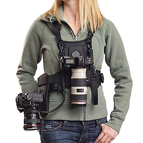 Micnova MQ-MSP01-Bandolera de transporte nuevo fotógrafo correa de pecho cuerpo elástica regulable con lado Funda de cámara 1/4 tornillos para Canon, Nikon, Sony, cámara DSLR