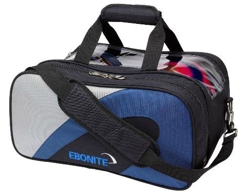 Ebonite Bowling Team Doppel-Bag, Marineblau/Silberfarben