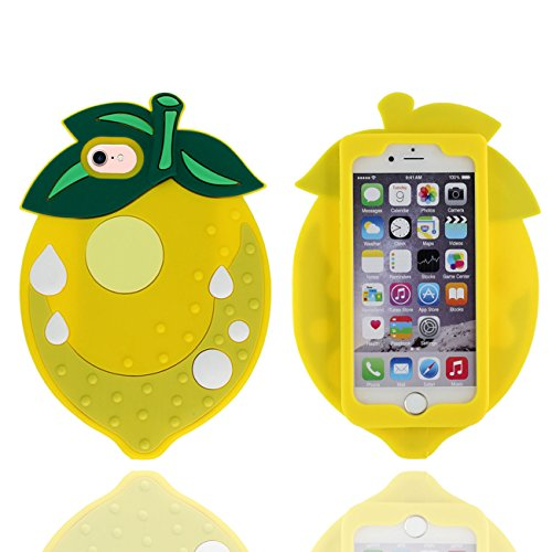 iPhone 7 Coque Case, design Novel 3D Joli Fraise Forme Silicone Gel Doux Housse de Protection pour Apple iPhone 7 4.7 inch ( Rouge ) jaune