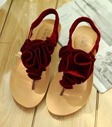 Del De Plataforma Tangas La Rojas Pie correa De Del Youjia T Dedo Zapatos Las Sandalias Mujeres Clip Flor Boho Playa wqFazfIa